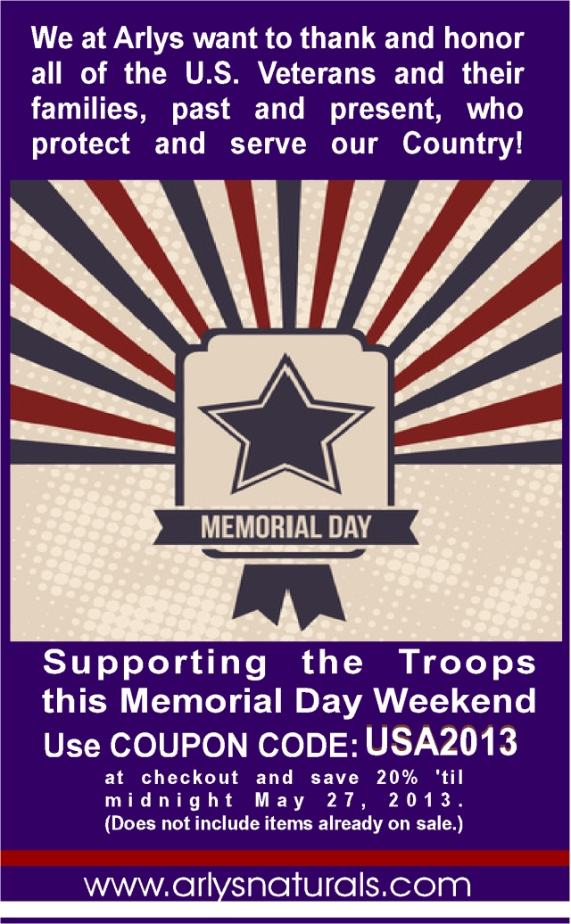 Memorial Day Sale May 2013