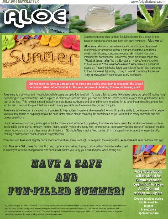 July2016 Newsletter Aloe Vera Gel
