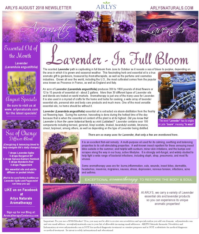August 2018 Aromatic Lavender Newsletter2