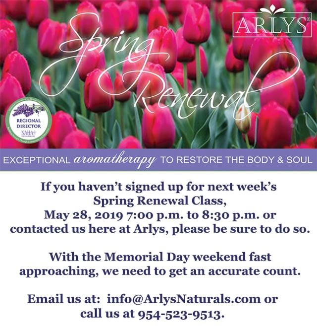 Spring Renewal Class Reminder 5-21-19