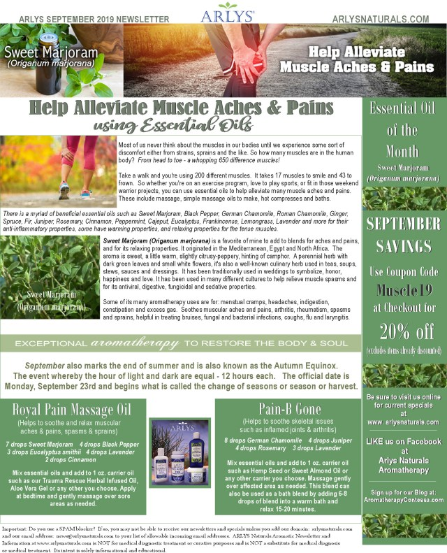 September 2019 Newsletter Sweet Marjoram -Muscle Aches