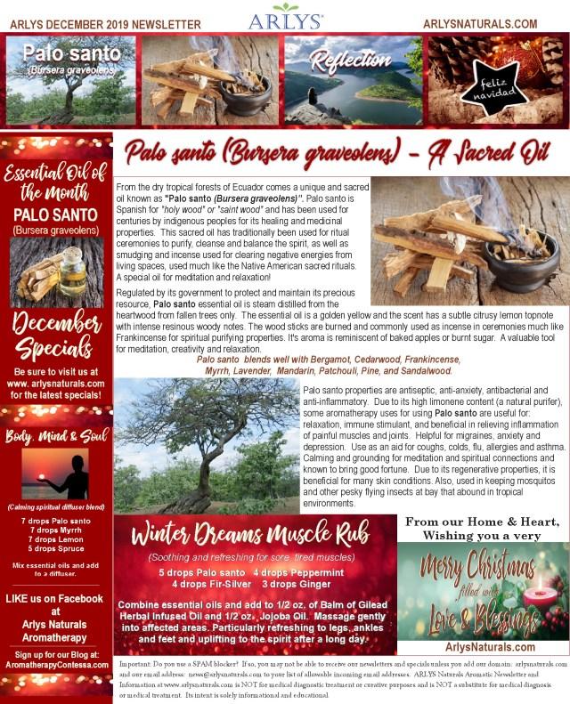 December 2019 Newsletter-Palo santo